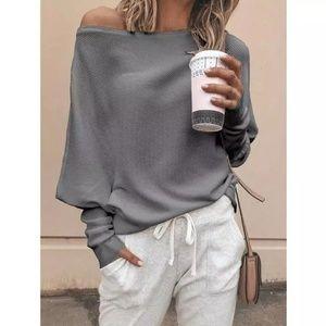 NWOT Grey Dolman Off the Shoulder Sweater